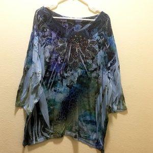 Plus Size 3/4sleeve Tunic Mandala like print 34/36